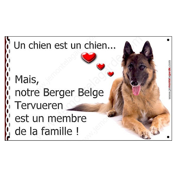 Berger Belge Tervueren Couché, Plaque Portail un chien est un chien, membre de la famille, pancarte, affiche panneau