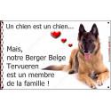 Plaque 24 cm LOVE Membre de la Famille, Berger Belge Tervueren