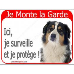 """Aussie Tricolore Noir tête, plaque portail rouge """"Je Monte la Garde"""" 2 Tailles RED A"""