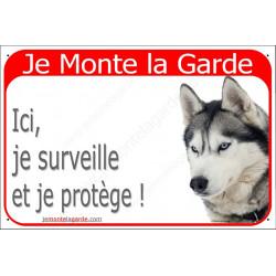 """Husky Gris Tête, plaque portail rouge """"Je Monte la Garde"""" 24 cm RED"""