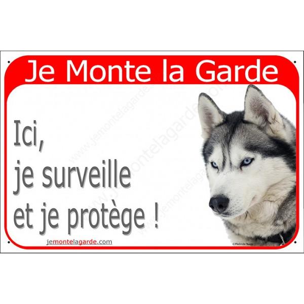 Husky Gris Tête, Plaque Portail Je Monte la Garde, surveille protège, pancarte, affiche panneau