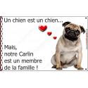 Plaque 16 cm LOVE Membre de la Famille, Carlin