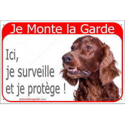 Plaque Je Monte la Garde rouge, Setter Irlandais Tête, ici je surveille et je protège, pancarte panneau attention au chien