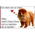 Plaque 20 cm LOVE Membre de la Famille, Chow-Chow Fauve