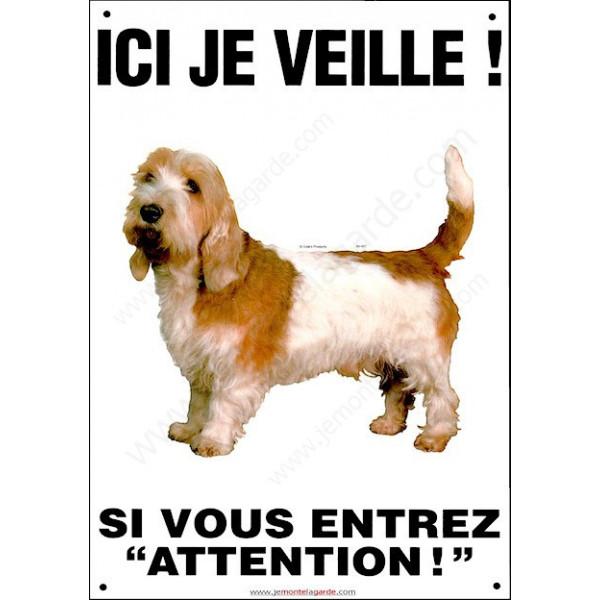 """Basset Griffon Vendéen, plaque portail verticale """"Ici je veille, attention au chien"""" pancarte affiche panneau, photo"""