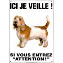 Plaque 26,5 cm ECO Ici je Veille, Basset Griffon Vendéen