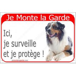 """Aussie bleu merle couché, plaque portail rouge """"Je Monte la Garde"""" 24 cm RED"""