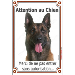 """Malinois, plaque verticale """"Attention au Chien"""" 24 cm VLC"""