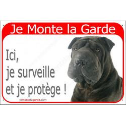 """Shar-Peï noir tête, plaque portail rouge """"Je Monte la Garde"""" 24 cm pancarte panneau surveille protège attention au chien"""