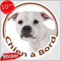 """Staffie blanc, sticker autocollant rond """"Chien à Bord"""" 15 cm, adhésif voiture"""