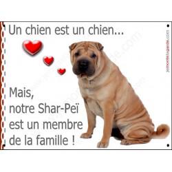 Plaque 2 Tailles LOVE Membre de la Famille, Shar-Peï Fauve Assis