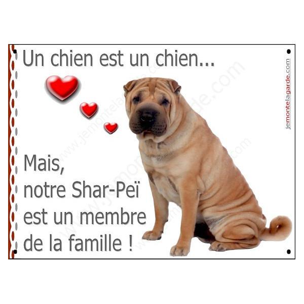 Shar-Peï Fauve Assis, Plaque Portail un chien est un chien, membre de la famille, pancarte, affiche panneau