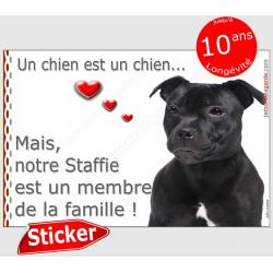 """Staffie noir Tête, sticker autocollant """"Love"""" 16 x 11 cm, intérieur/Extérieur"""