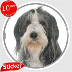 """Bearded Collie noir et blanc, sticker autocollant rond """"photo"""" 15 cm intérieur/Extérieur"""