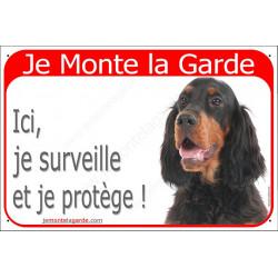 """Setter Gordon tête, plaque portail rouge """"Je Monte la Garde"""" 24 cm RED"""