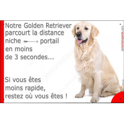 "Golden Retriever Assis, plaque humour ""distance Niche - Portail""  24 cm 3SEC"