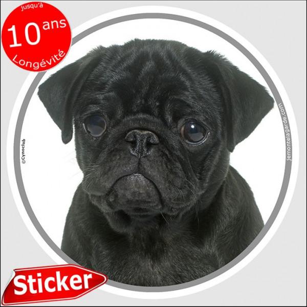 """Carlin noir, sticker autocollant rond """"photo"""" 15 cm intérieur/Extérieur adhésif résistant intempéries pug mop"""