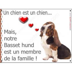 Plaque 16 cm LOVE Membre de la Famille, Basset Hound