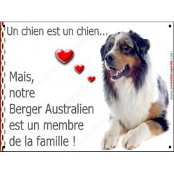 Berger Australien Bleu Merle, Plaque Portail un chien est un chien, membre de la famille, pancarte, affiche panneau