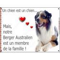 Plaque 2 Tailles LOVE Membre de la Famille, Berger Australien Bleu Merle
