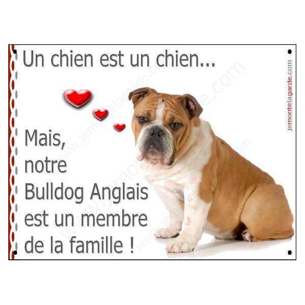 Bulldog Anglais Assis, Plaque Portail un chien est un chien, membre de la famille, pancarte, affiche panneau