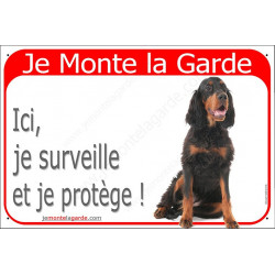 "Setter Gordon Assis, plaquerouge ""Je Monte la Garde"" 24 cm RED"