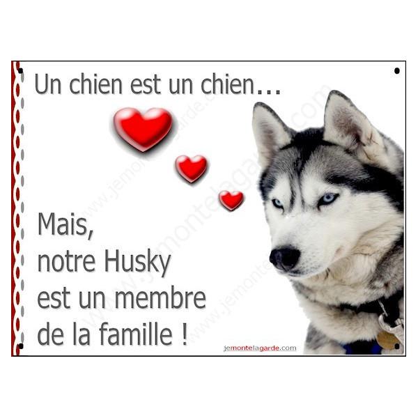 Husky Gris Tête, Plaque Portail un chien est membre de la famille panneau pancarte affiche coeur photo