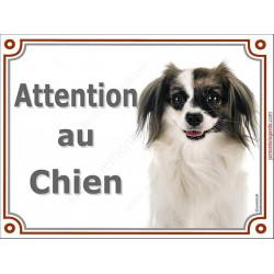 Plaque LUXE Attention au Chien, Epagneul Continental Phalène Tête, pancarte panneau Phallène