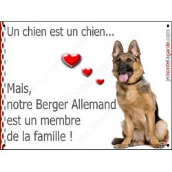 Plaque 16 cm LOVE Membre de la Famille, Berger Allemand Assis