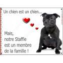 Plaque 16 cm LOVE Membre de la Famille, Staffie noir bringé Assis