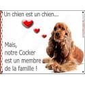 Plaque 2 Tailles LOVE Membre de la Famille, Cocker Golden