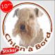 """Sticker autocollant rond """"Chien à Bord"""" 15 cm, Lakeland Terrier Tête, adhésif vitre voiture photo"""