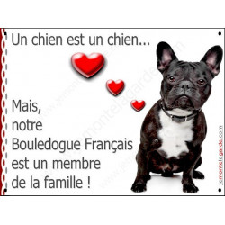 Bouledogue Français Bringé Assis, Plaque Portail un chien est un chien, membre de la famille, pancarte, affiche panneau