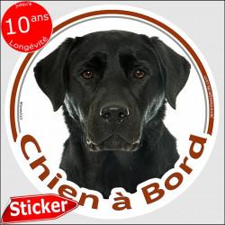 """Sticker rond """"Chien à Bord"""" 15 cm, Labrador noir Tête, autocollant voiture, adhésif auto photo"""