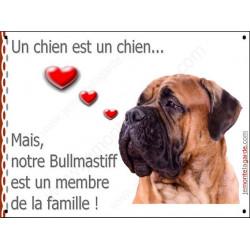Plaque 16 cm LOVE Membre de la Famille, Bullmastiff Tête