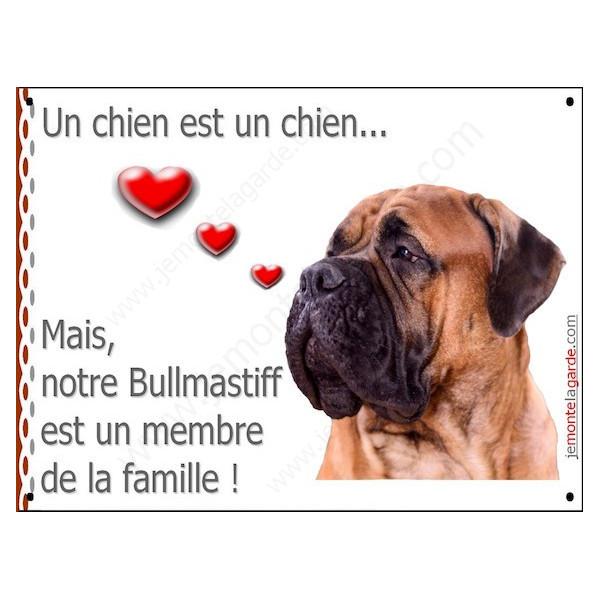 Bullmastiff Tête, Plaque Portail un chien est un chien, membre de la famille, pancarte, affiche panneau