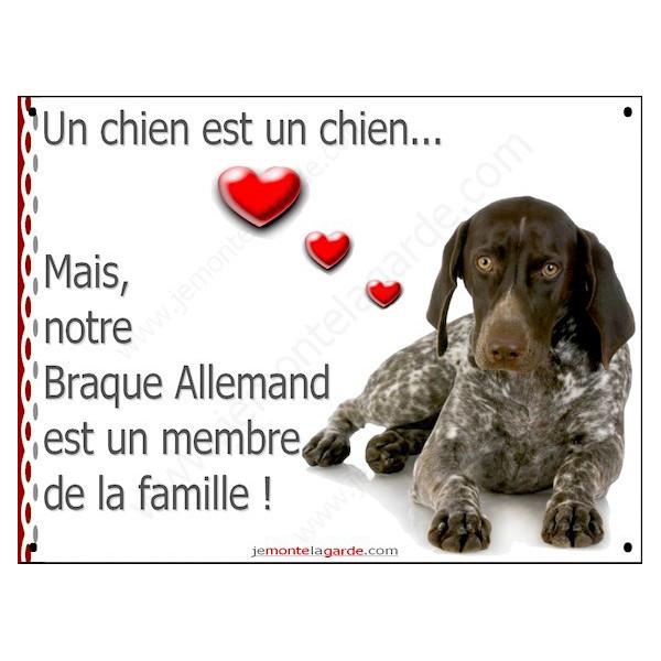 Braque Allemand Couché, Plaque Portail un chien est un chien, membre de la famille, pancarte, affiche panneau