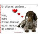 Plaque 16 cm LOVE Membre de la Famille, Braque Allemand