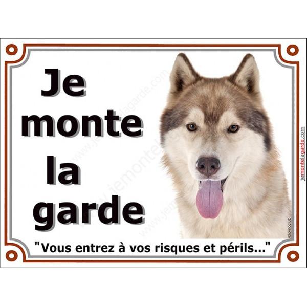 """Husky sibérien fauve doré marron tête, plaque portail """"Je Monte la Garde""""  pancarte panneau risques périls attention au chien"""