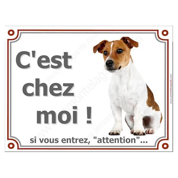 Jack Russell Blanc et Fauve Assis, Plaque portail Je Monte la Garde, panneau affiche pancarte, risques périls