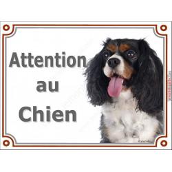 """Cavalier tricolore Tête, plaque portail """"Attention au Chien"""" 2 tailles Lux A"""