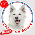 """Berger Blanc, sticker rond """"Chien de Sport"""" 15 cm, intérieur/Extérieur"""