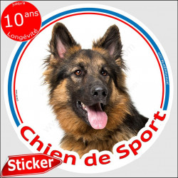 """Berger Allemand poils longs, sticker rond """"Chien de Sport"""" 15 cm résitant intempéries"""