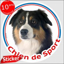 """Aussie Tricolore noir, sticker rond """"Chien de Sport"""" 15 cm, intérieur/Extérieur"""