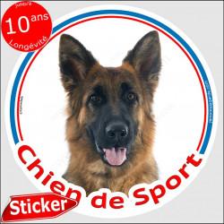 """Berger Allemand poils mi-long, sticker rond """"Chien de Sport"""" 15 cm, intérieur/Extérieur"""