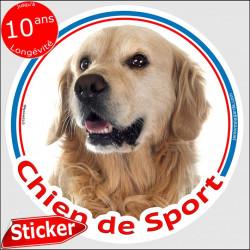 """Sticker rond """"Chien de Sport"""" 15 cm, Golden Retriever Tête, intérieur/Extérieur autocollant photo"""