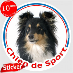 """Sticker autocollant rond """"Chien de Sport"""" 15 cm, Berger Shetland tricolore, intérieur/Extérieur, sheltie agility sportif photo"""