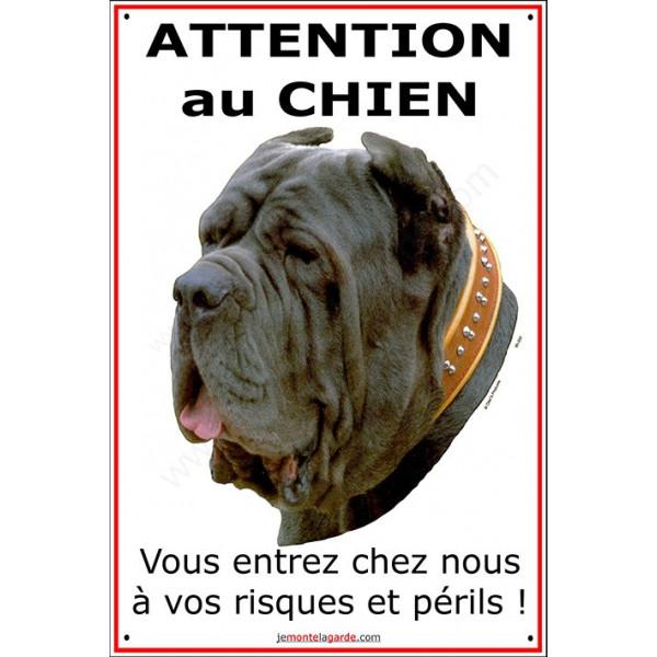 Mâtin de Naples, Pancarte portail Verticale Attention au Chien, plaque affiche, panneau attention chien risques périls