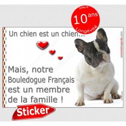 """Bouledogue français caille assis, sticker autocollant """"Love"""" 16 x 11 cm, intérieur/Extérieur, Bulldog noir et blanc photo chien"""