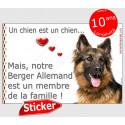 """Berger Allemand poils long Tête, sticker autocollant """"Love"""" 16 x 11 cm"""